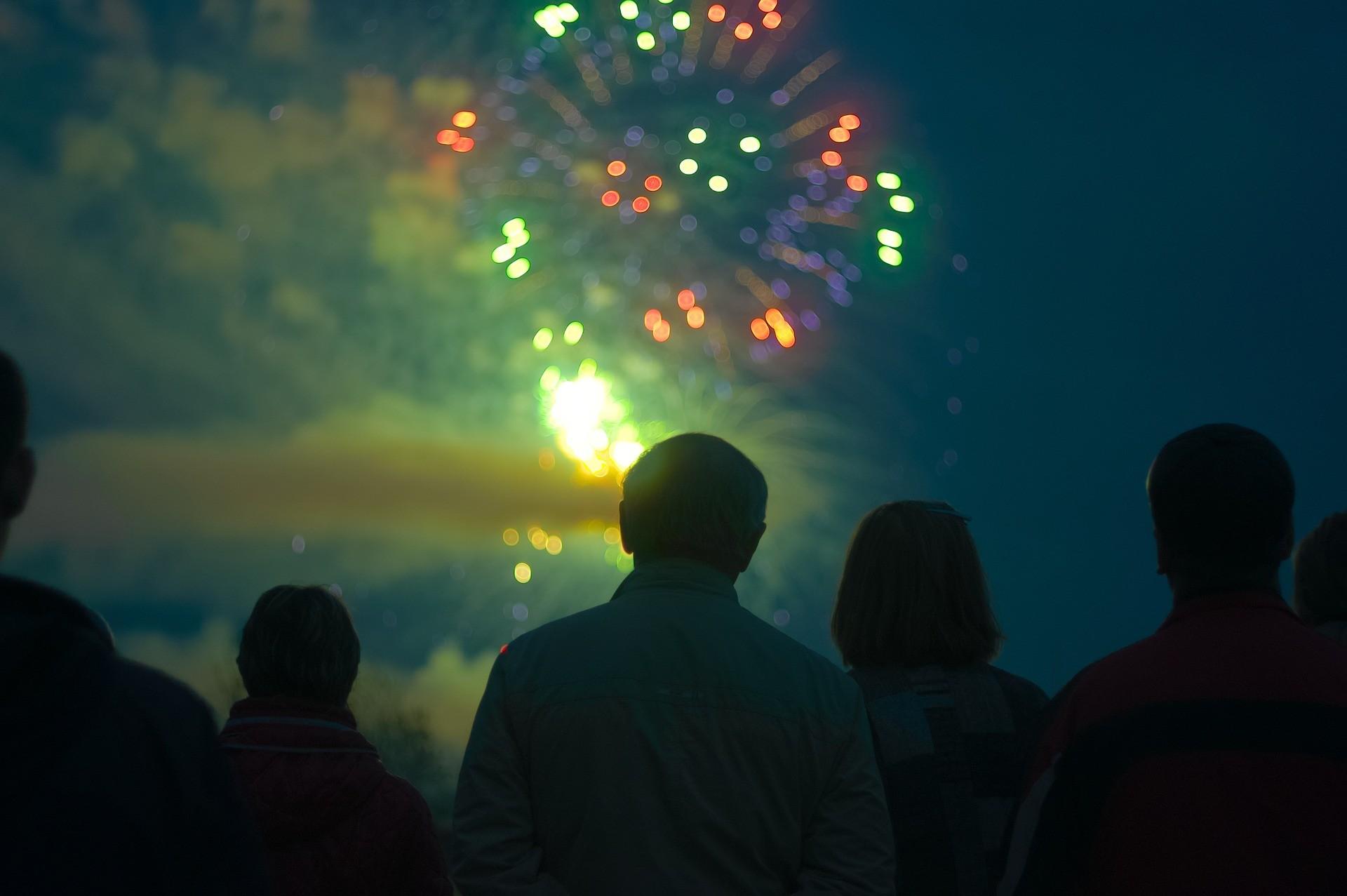 Spectators watch a fireworks display